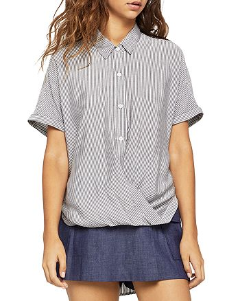 BCBGeneration - Striped Button-Down Front-Tuck Shirt