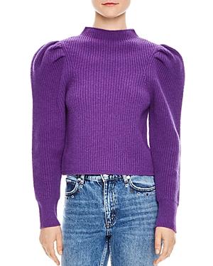 Sandro Hibou Ribbed Oversize-Shoulder Wool Sweater