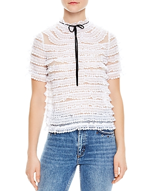 Sandro Addiction Tiered Mesh & Lace Silk Top