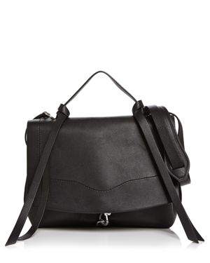 Stella Medium Leather Satchel in Black