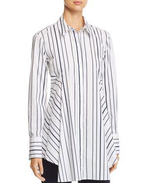 Donna Karan New York Striped Button-Down Flare Top