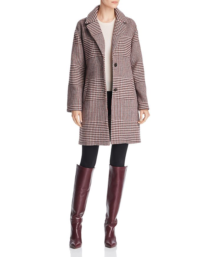 Bernardo - Notched Collar Plaid Coat