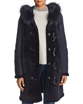 Maximilian Furs - Reversible Fox Fur Trim Hooded Lamb Shearling Coat - 100% Exclusive