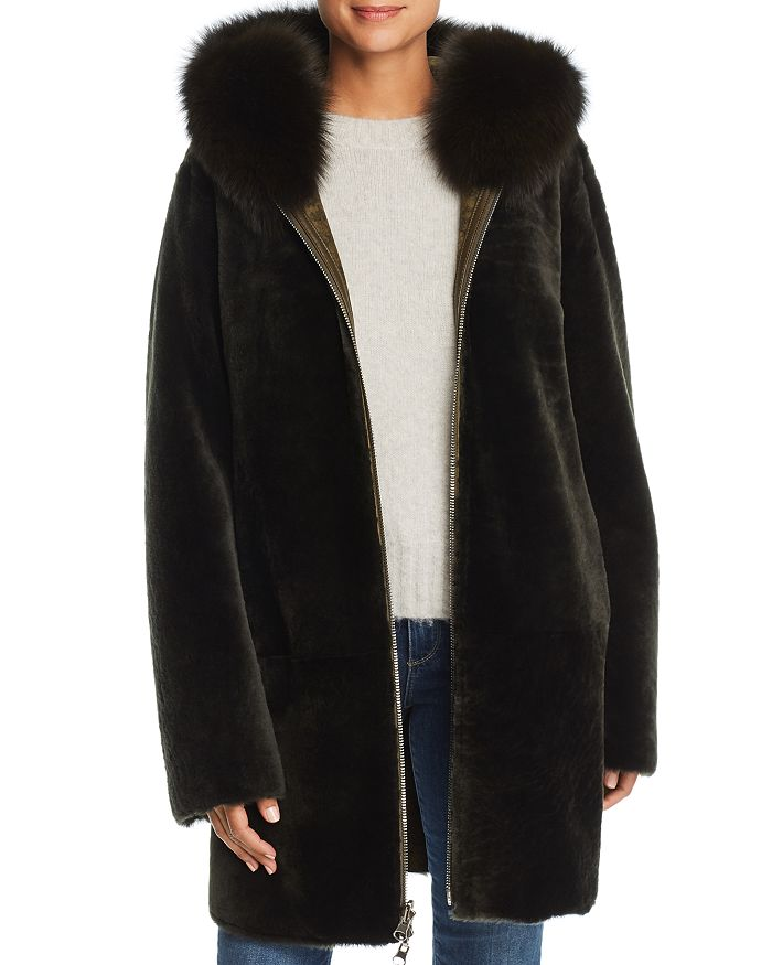 Maximilian Furs - Reversible Lamb Shearling Coat with Fox Fur Trim - 100% Exclusive
