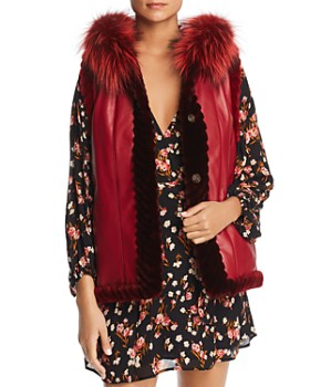 Maximilian Furs - Reversible Sheared Beaver Fur & Leather Vest with Fox Fur Trim - 100% Exclusive