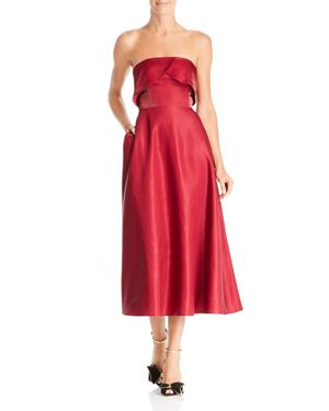 SAU LEE Viola Strapless Shimmer Dress in Burgundy