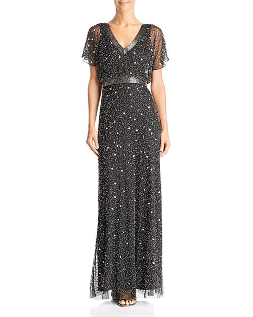 Adrianna Papell - Embellished Flutter-Sleeve Gown