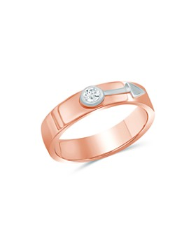 Love and Pride - 14K White Gold & 14K Rose Gold Diamond Male Insignia Ring