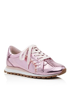 Tory Sport - Women's Ruffle Trainer Leather Lace Up Sneakers