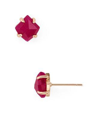 Aurelia Stud Earrings in Rose Gold/Maroon