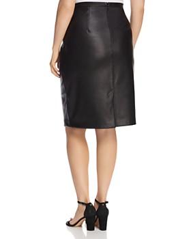 Estelle Plus - Troubled Weather Faux-Leather Pencil Skirt