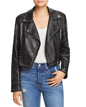 Sunset & Spring - Studded Cropped Faux Leather Moto Jacket - 100% Exclusive