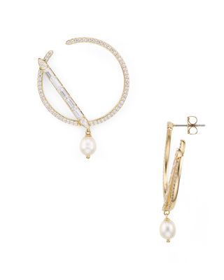 Josephine Cultured Freshwater Pearl Secant Loop Drop Earrings by Nadri