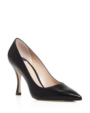 Women'S Tippi 95 Pointed Toe Leather High-Heel Pumps, Black