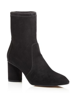 Women's Margot 75 Round Toe Suede Mid Heel Booties by Stuart Weitzman