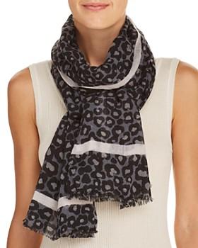 AQUA - Leopard Print Wool Scarf - 100% Exclusive