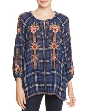 JOHNNY WAS AALIAH EMBROIDERED PLAID PEASANT TOP