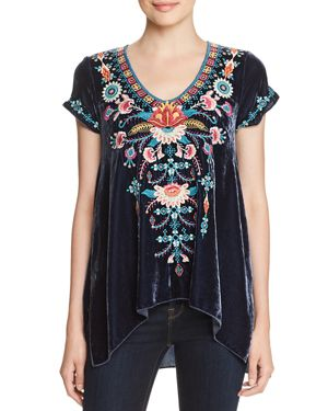 JOHNNY WAS DELPHINE EMBROIDERED VELVET TOP