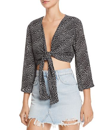 FORE - Mini-Leopard Tie-Front Cropped Top