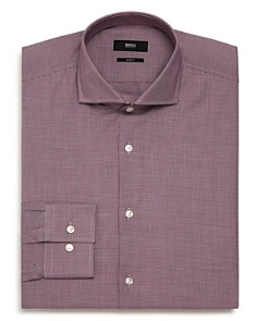 BOSS - Micro-Herringbone Slim Fit Dress Shirt