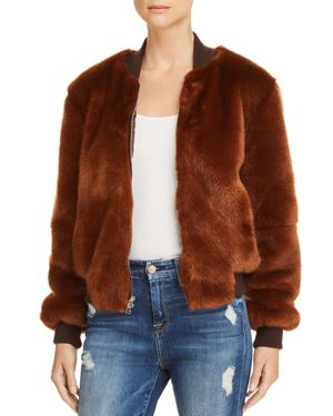 Ellington Knit-Trimmed Faux Fur Bomber Jacket, Brandy