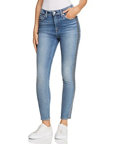 7 For All Mankind - Shimmer Stripe High Waist Ankle Skinny Jeans in Luxe Vintage Muse 3