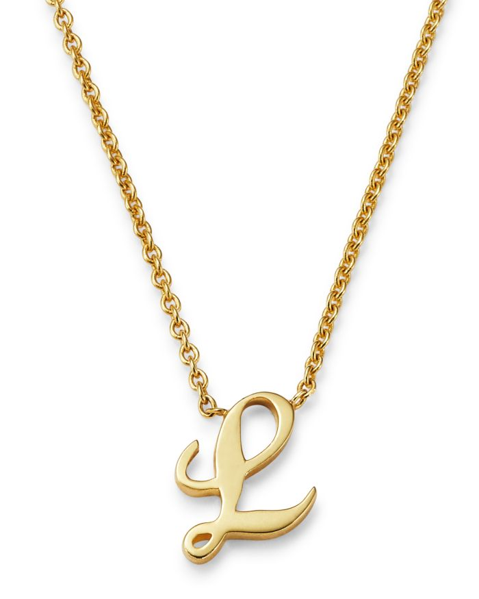 """Roberto Coin 18K Yellow Gold Cursive Initial Necklace, 16""""     Bloomingdale's"""