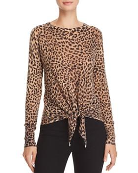 Olivaceous - Leopard-Print Tie-Front Sweater