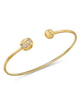 Marco Bicego - 18K Yellow Gold Africa Pavé Diamond Delicate Kissing Bangle