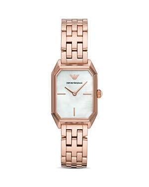 Emporio Armani Rose Gold-Tone Mother-of-Pearl Dial Watch, 24mm x 36mm