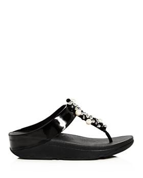 FitFlop - Women's Deco Embellished Platform Thong Sandals