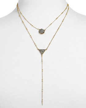 BAUBLEBAR - Kera Druzy Layered Lariat Necklace, 19""