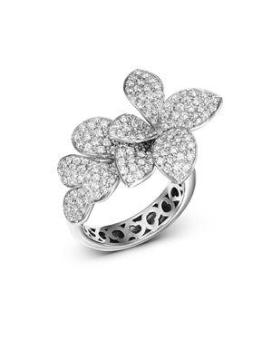 PASQUALE BRUNI 18K WHITE GOLD STELLA IN FIORE DIAMOND RING