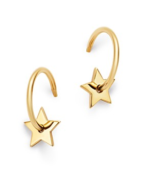 Zoë Chicco - 14K Yellow Gold Small Star Washer Huggie Hoop Earrings