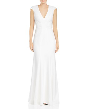 HALSTON HERITAGE - Ruched Cutout Crepe Gown