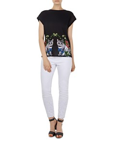 Ted Baker - Bleue Florence Woven-Front Tee