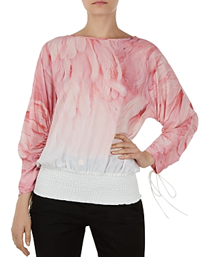 Ted Baker Avvi Angel Falls Ruched-Sleeve Top