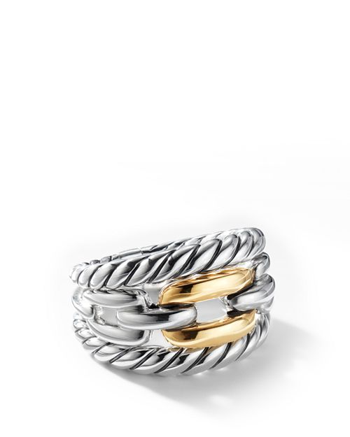 David Yurman - Wellesley Link Three-Row Ring in Sterling Silver with 18K Yellow Gold