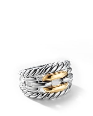 DAVID YURMAN WELLESLEY LINK THREE-ROW RING IN STERLING SILVER WITH 18K YELLOW GOLD