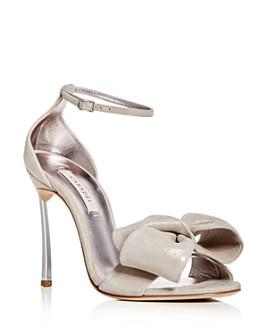 Casadei - Women's Nubuck Leather Bow High-Heel Sandals