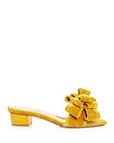 Charlotte Olympia - Women's Velvet Bow Low-Heel Slide Sandals