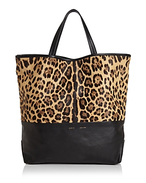 Large Leopard Print Fur & Leather Tote