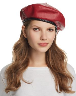 Kate Two-Tone Leather Beret, Red/Black