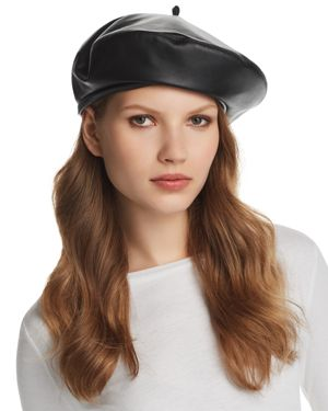 Kate Two-Tone Leather Beret, Black