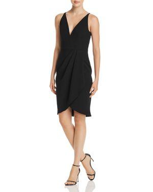 Aqua Side-Drape V-Neck Dress - 100% Exclusive