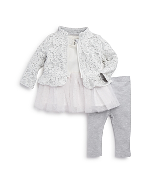 Miniclasix Girls' Lace Jacket, Tutu Top & Leggings Set - Baby