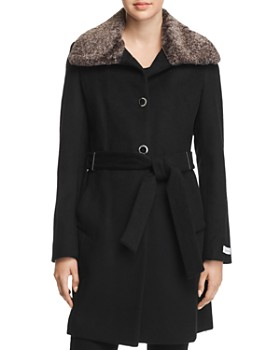 Calvin Klein - Faux Fur Wing Collar Coat