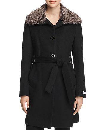 Calvin Klein - Faux Fur Wing Collar Coat