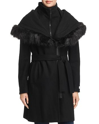 Calvin Klein - Shawl Collar Faux Fur Trim Coat
