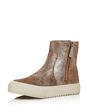 Women'S Gia Side Zip Distressed Metallic Leather High Top Sneakers